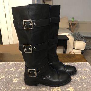 Coach Jordan Black Leather Riding Boots